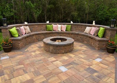 backyard with brick stone
